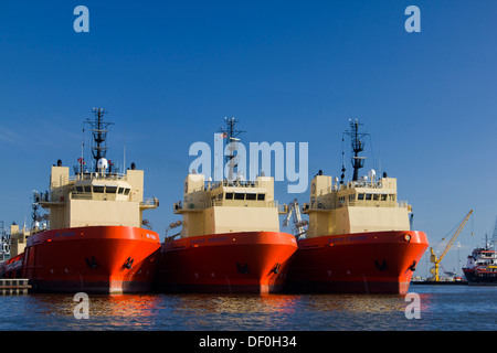 Edison Chouest Offshore (ECO) platform supply vessels at Port Fourchon - Stock Photo