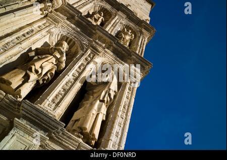 Puerta de los Apostoles. Facade of Gothic church of Santa María la Mayor 13th-14th century. Morella. Els Ports. - Stock Photo