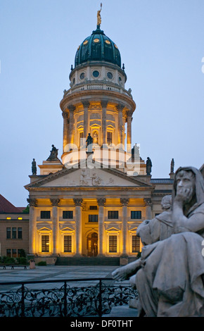 Berlin, Germany, French Cathedral and detail of the Schiller monument at the Gendarmenmarkt - Stock Photo
