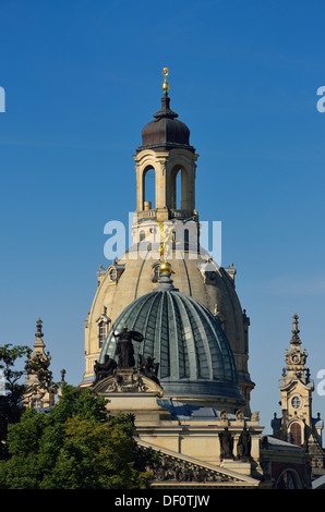 Domes of the art college and Church of Our Lady, Dresden, Kuppeln der Kunsthochschule und Frauenkirche - Stock Photo