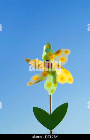 Berlin, Germany, a wind chime, Whirligig, in the form of a flower - Stock Photo