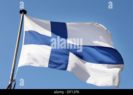 Hamburg, Germany, Finland's national flag - Stock Photo