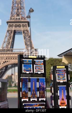 Shopping for postcards, Champs de Mars, Paris, France - Stock Photo