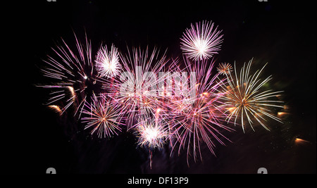 Berlin, Germany, fireworks on the Pyroworld 2011 - Stock Photo