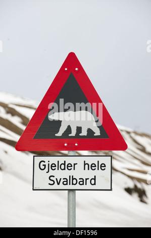 Polar Bear warning sign, Longyearbyen, Spitsbergen, Svalbard Archipelago, Norway - Stock Photo