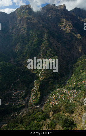 Looking down on to the steeply terraced village of Curral das Freiras, Madeira, Portugal - Stock Photo