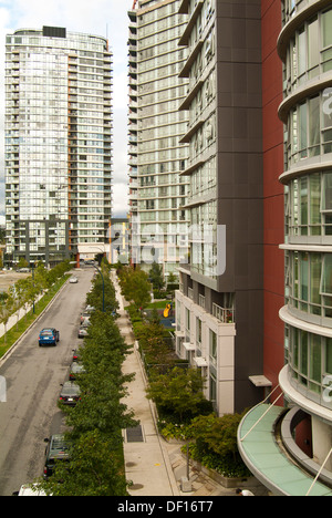 apartment buildings in downtown Vancouver, BC, Canada - Stock Photo