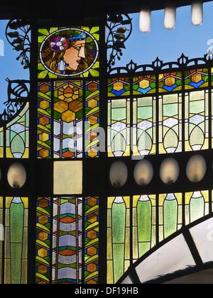 Art Nouveau Stained Glass Decoration  The Municipal House  Prague  Czech Republic - Stock Photo