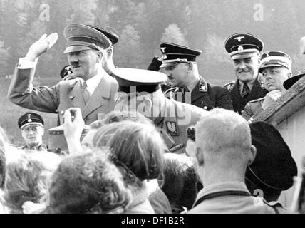 The image from the Nazi Propaganda! shows Adolf Hitler at a festive reception. Date and place unknown. Photo: Berliner - Stock Photo