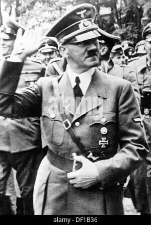 The image from the Nazi Propaganda! shows Adolf Hitler marching along a regiment in September 1939 after the invasion - Stock Photo