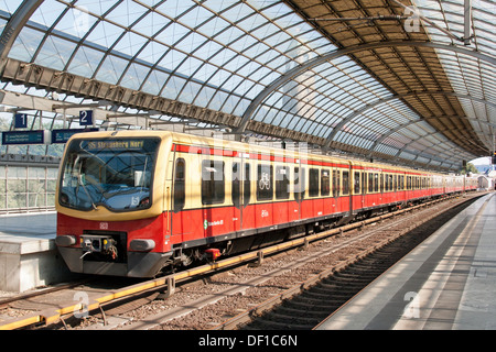 The German Railway in Berlin - Spandau interior of a station with S bahn - Stock Photo
