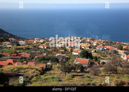 Madeira Island, South West Coast, overlooking the village of Arco da Calheta and the sea - Stock Photo