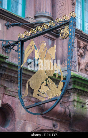Hotel zum Ritter sign with St. George slaying the dragon, Heidelberg, Germany - Stock Photo