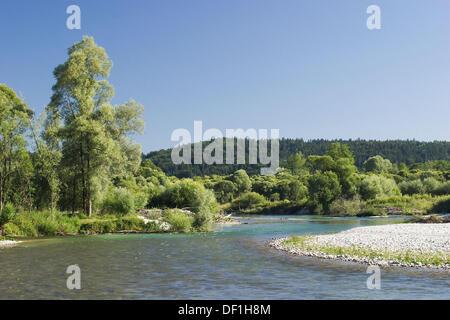 River Isar near Geretsried in Bavaria, Germany - Stock Photo