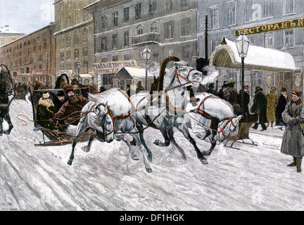 Russian troika on a snowy street in St. Petersburg, Russia, 1880s. Hand-colored woodcut - Stock Photo