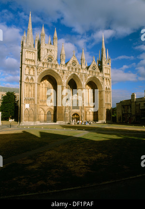 NW tower & west front of Peterborough Cathedral (St Peter's Church) with Early English Gothic screen wall & flanking - Stock Photo