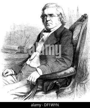 William Makepeace Thackeray, 1811-1863, was an English writer, woodcut from 1864 - Stock Photo