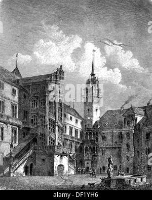 castle Hartenfels in Torgau, Saxony, Germany, woodcut from 1864 - Stock Photo