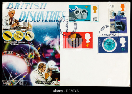 First Day Cover celebrating British Discoveries. - Stock Photo
