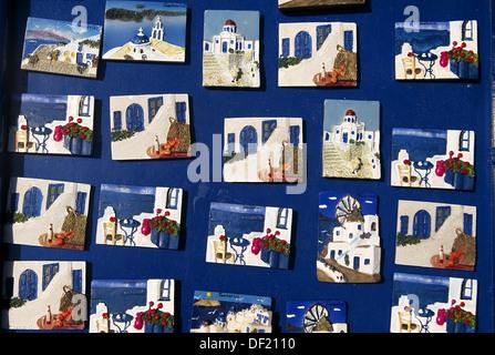 Souvenirs, Thira. Santorini, Cyclades islands, Greece - Stock Photo