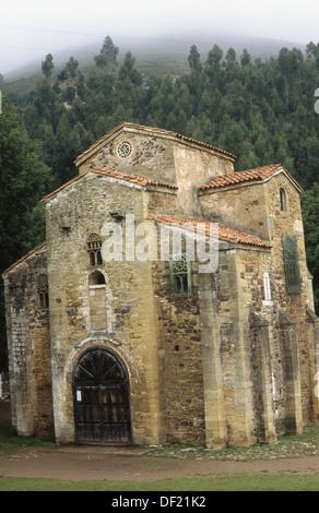 Pre-Romanesque church of San Miguel de Lillo near Oviedo. Asturias, Spain - Stock Photo