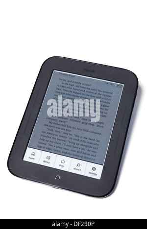 studio nook ereader on white with home library shop menu. - Stock Photo