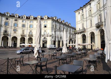 Turin ,the beautiful Vittorio Veneto square - Stock Photo
