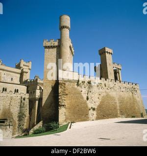 Palace of the Kings of Navarre, Olite, Navarre, Spain - Stock Photo
