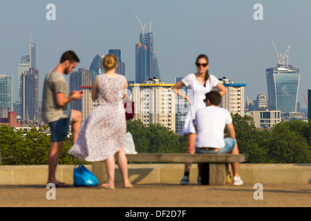 View of London Skyline from Primrose Hill - London - Stock Photo