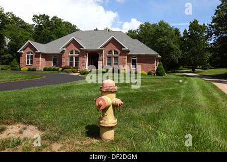 Bungalow with fire hydrant on front lawn in smart residential suburb, Gettysburg, Pennsylvania, United States of - Stock Photo