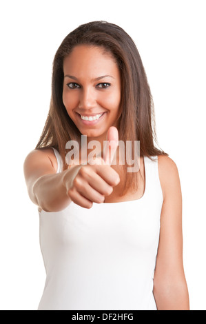 Attractive young woman giving the thumbs-up, isolated on a white background - Stock Photo
