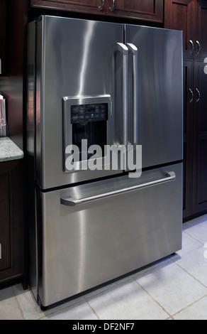 Large Stainless Steel Fridge Freezer And Cream Double Aga