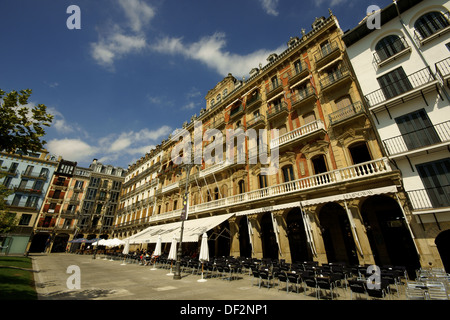 Cafe Iruña in Plaza del Castillo, Pamplona. Navarra, Spain - Stock Photo