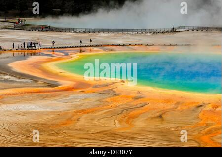Visitors and boardwalks at Grand Prismatic Spring - Stock Photo