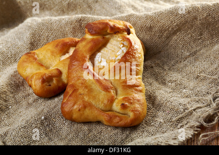 Russian traditional baked salmon pie ..farm-style country - Stock Photo