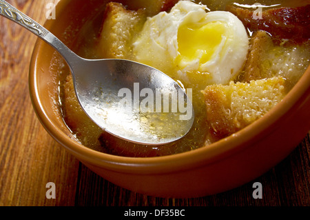 sopa de ajo , castilian garlic soup.farm-style - Stock Photo