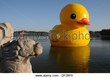 Giant inflatable rubber duck on the water, Buffalo New York Stock ...