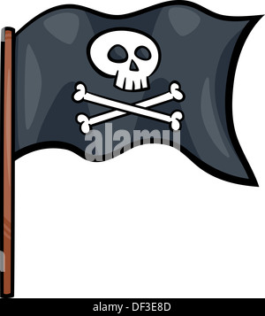 Cartoon Illustration of Pirate Flag with Skull and Bones or Jolly Roger Object Clip Art - Stock Photo