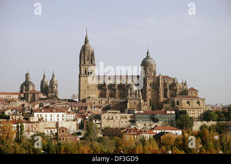 View of old and new cathedrals, Salamanca. Castilla-León, Spain - Stock Photo