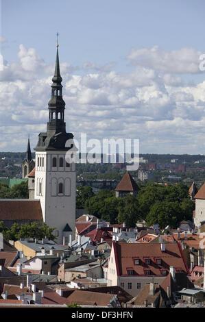 City skyline with St Nicholas Church in Old Town. Tallinn. Estonia - Stock Photo