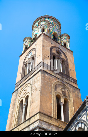 the bell tower of Amalfi Cathedral, Italy. 9th-century Roman Catholic structure. It is dedicated to the Apostle - Stock Photo