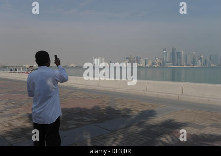 (dpai-file) A file picture dated 06 January 2011 shows a man taking a picture with his phone on the harbour promenade - Stock Photo