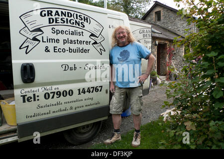 Llanwrda, Wales UK Fri 27th Sept 2013. Neil Plume, Specialist Lime Plasterer and Eco-builder and owner of 'Grand(ish) - Stock Photo
