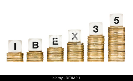 IBEX 35 (Madrid Stock Exchange Share Index) on Gold Coin Stacks Isolated on White - Stock Photo