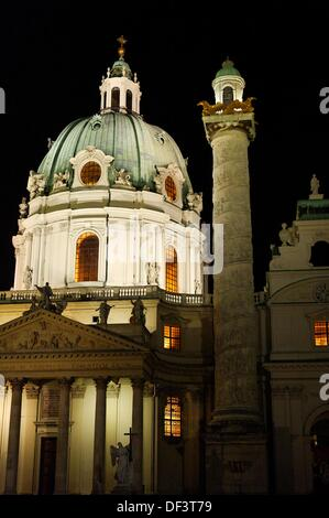 Karlskirche (St Charles´s Church) on the south side of Karlsplatz, Vienna, Austria - Stock Photo