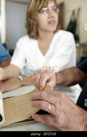 Occupational therapy, textures: shape and texture recognition exercise, exteroception. Hospital Universitario de - Stock Photo