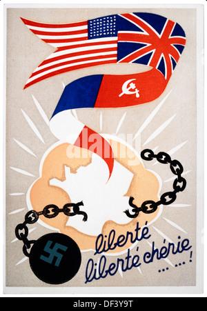 French Poster, 'Liberty, Dear Liberty', World War II, 1944 - Stock Photo