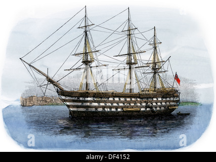 Lord Nelson's ship HMS 'Victory' in Portsmouth harbor, 1800s. Hand-colored woodcut - Stock Photo