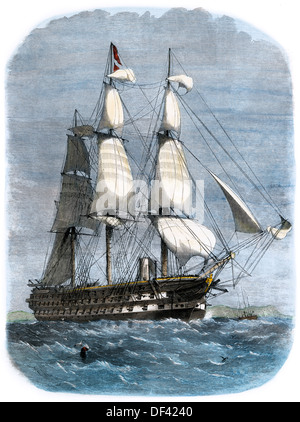British warship HMS St George with 91 guns, carrying Prince Albert, 1861. Hand-colored woodcut - Stock Photo