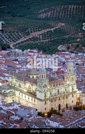 Spain, Andalucia, Jaen, Renaissance Cathedral in early twilight viewed from the parador - Stock Photo
